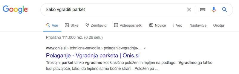 Google prvo mesto - Kako vgraditi parket