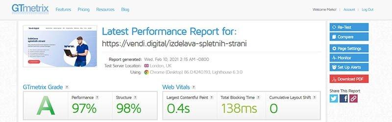 Hitrost spletne strani - GTmetrix analiza